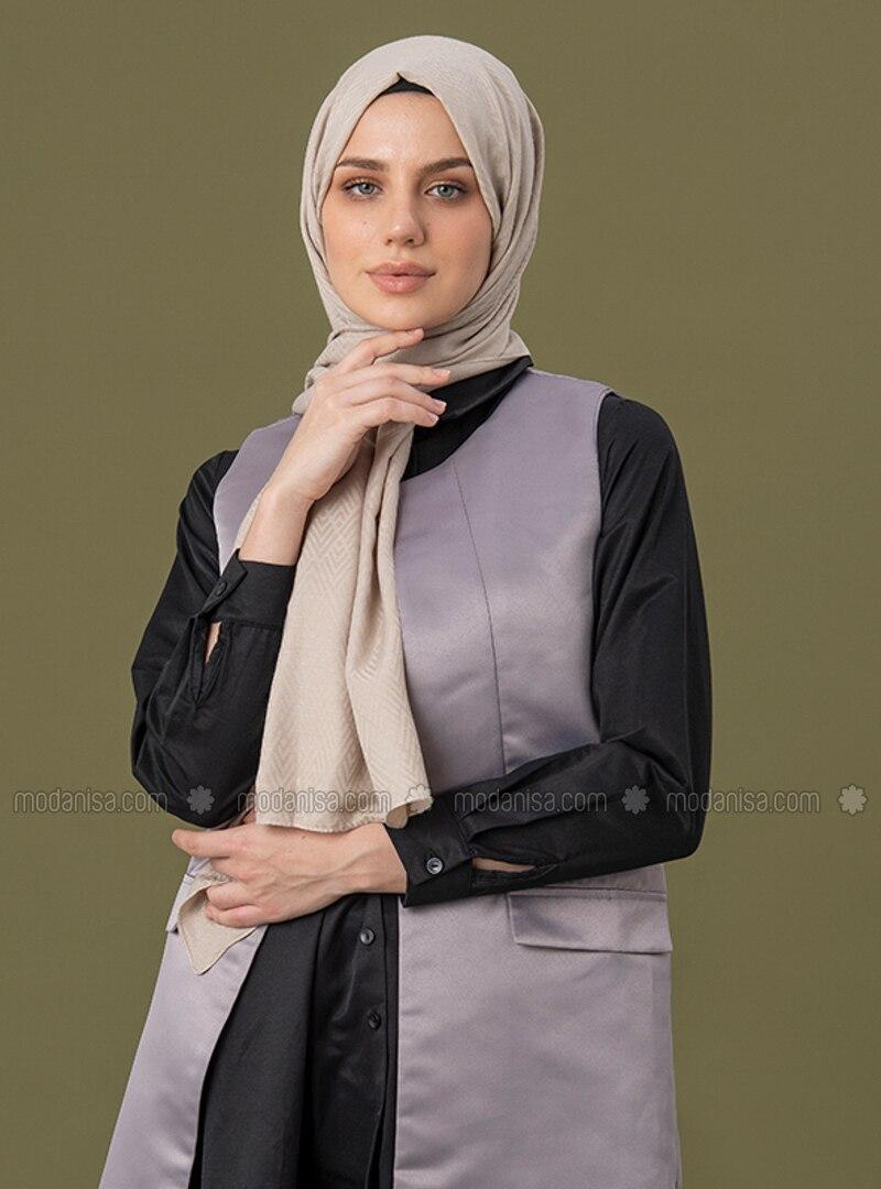 Beige - Geometric - Jacquard - Cotton - Shawl