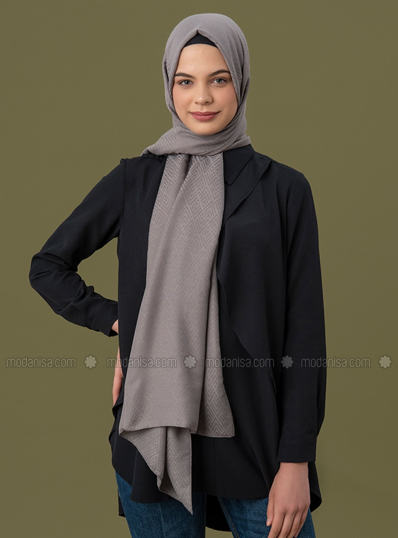 Gray - Geometric - Jacquard - Cotton - Shawl