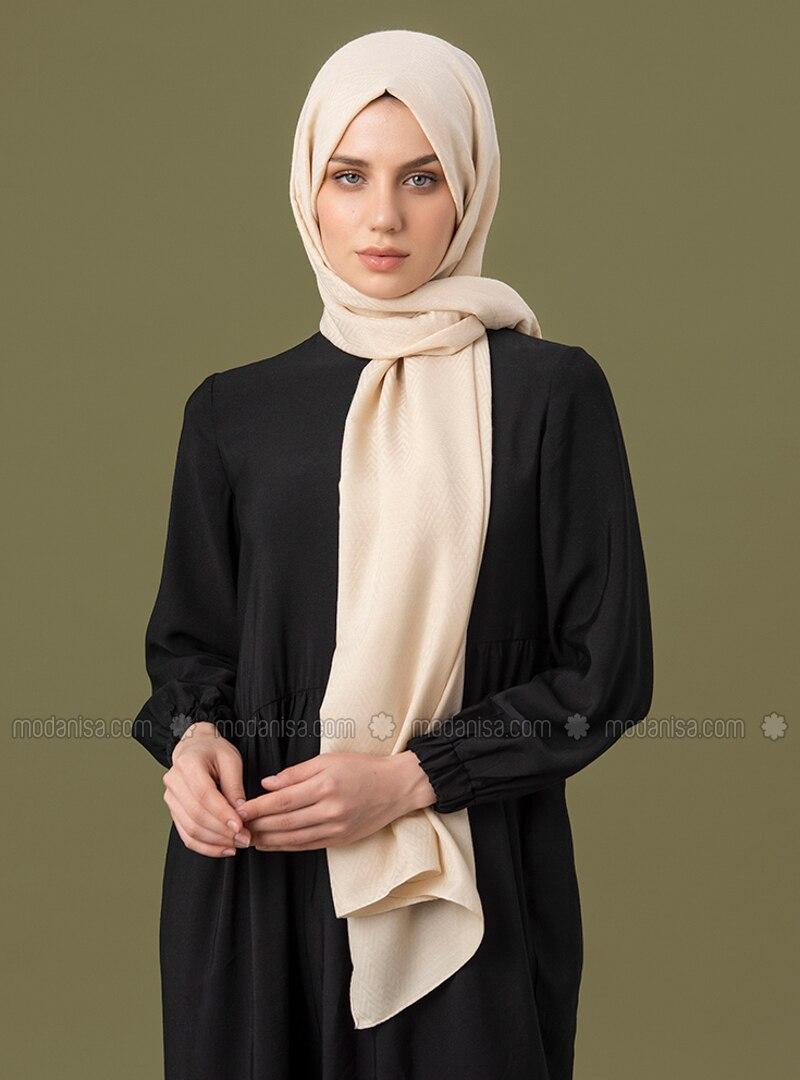 Cream - Geometric - Jacquard - Cotton - Shawl
