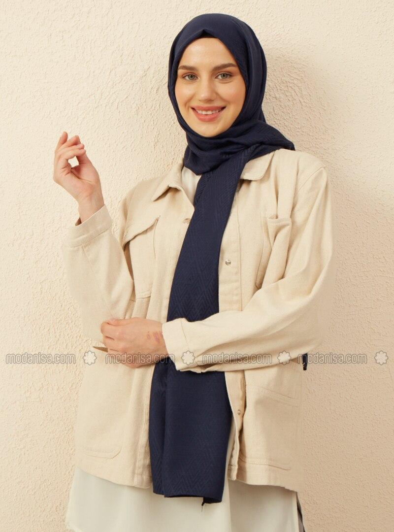 Navy Blue - Geometric - Jacquard - Cotton - Shawl