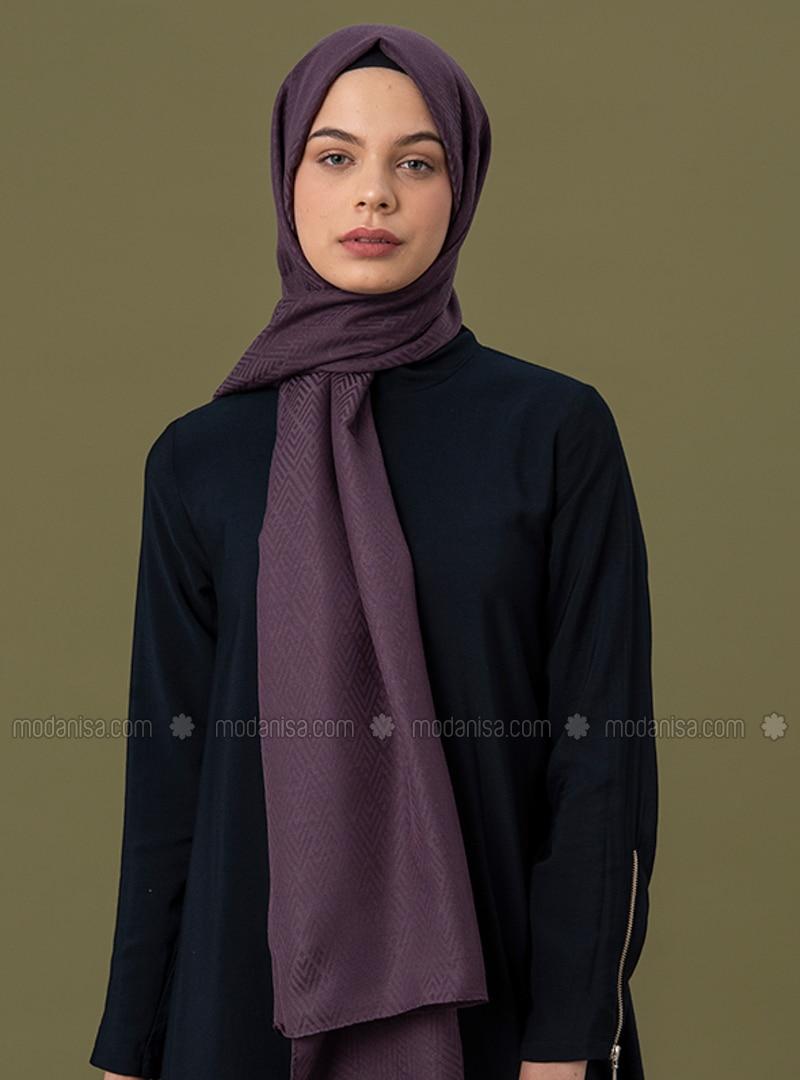 Purple - Geometric - Jacquard - Cotton - Shawl