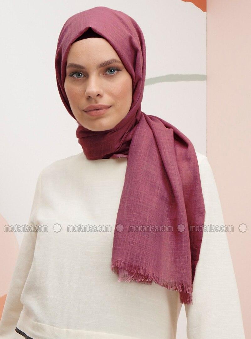 Dusty Rose - Plain - Linen - Shawl