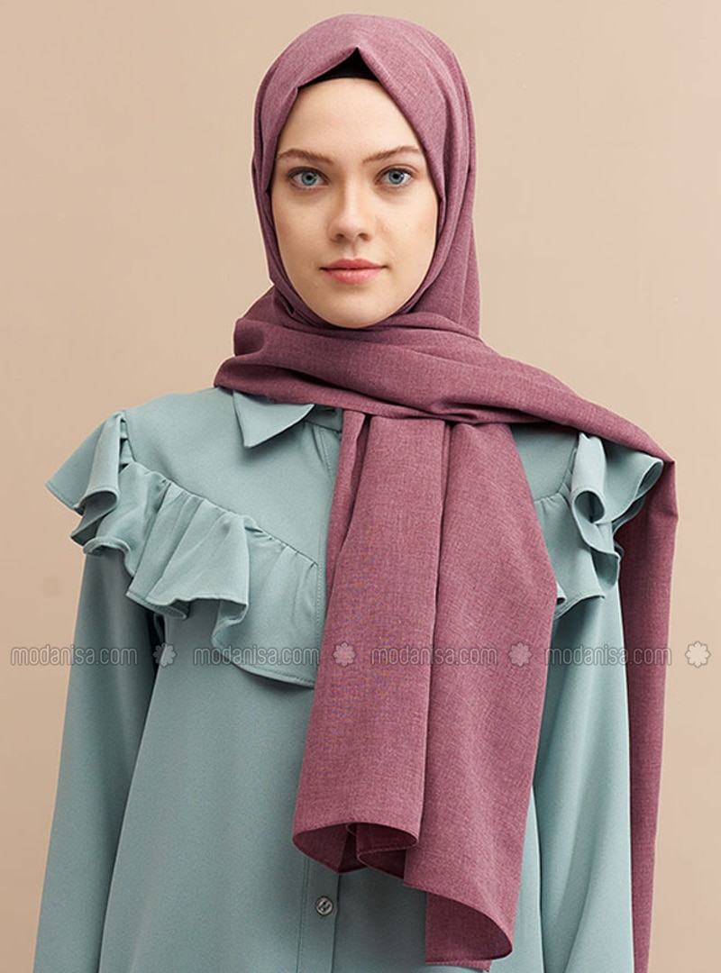 Plum - Plain - Cotton - Shawl