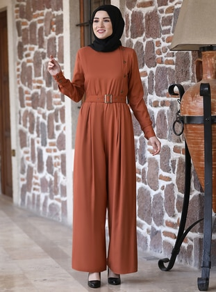 Terra Cotta - Crew neck - Unlined - Modest Dress
