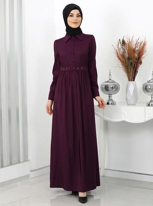 Plum - Point Collar - Unlined - Modest Dress