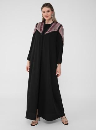 Black - Multi - Unlined - Plus Size Abaya