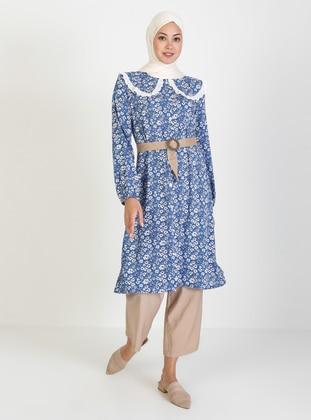 Blue - Floral - Crew neck - Viscose - Tunic