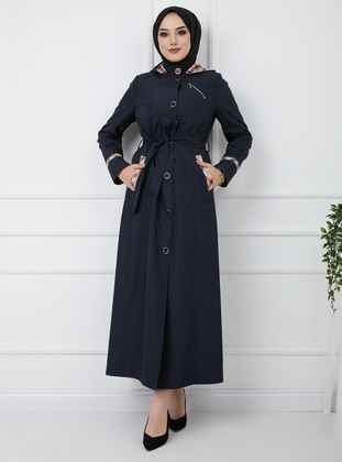 Navy Blue - Plaid - Fully Lined - Trench Coat