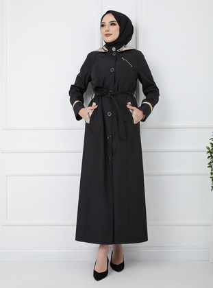Black - Plaid - Fully Lined - Trench Coat - Olcay