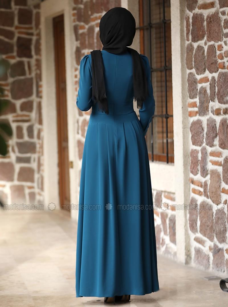 Petrol Rundhalsausschnitt Ohne Innenfutter Hijab Kleid