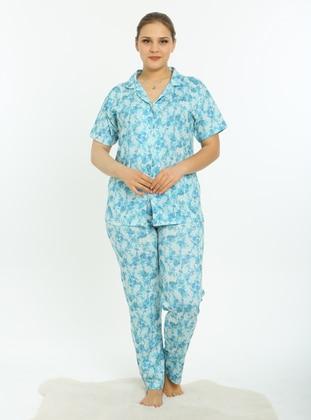 Turquoise - Multi - Plus Size Pyjamas