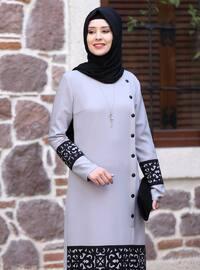 Astarsız kumaş - Gri - Yuvarlak yakalı - Resmi Giysi