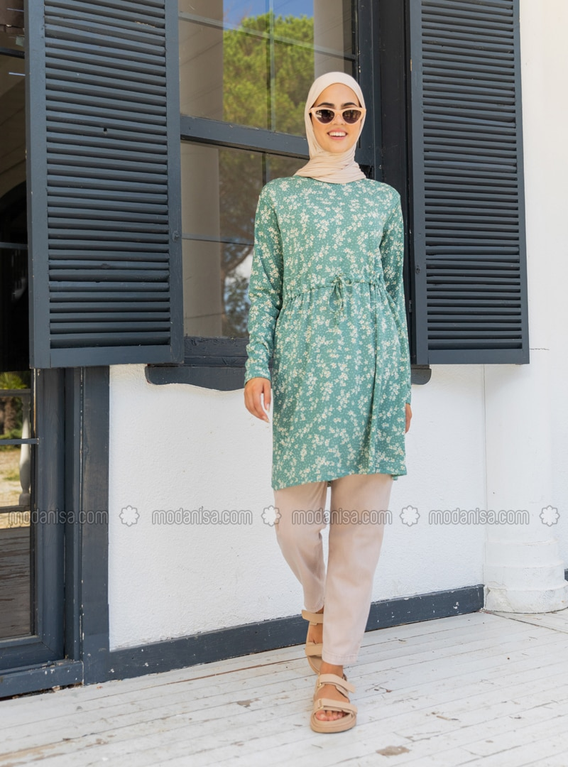 Green Almond - Floral - Crew neck - Tunic