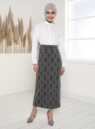 Black - Jacquard - Unlined - Skirt
