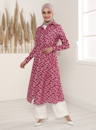 Fuchsia - Jacquard - Point Collar - Unlined - Modest Dress