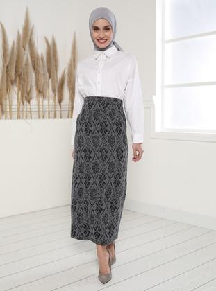 Navy Blue - Jacquard - Unlined - Skirt