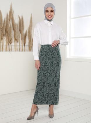 Green - Jacquard - Unlined - Skirt