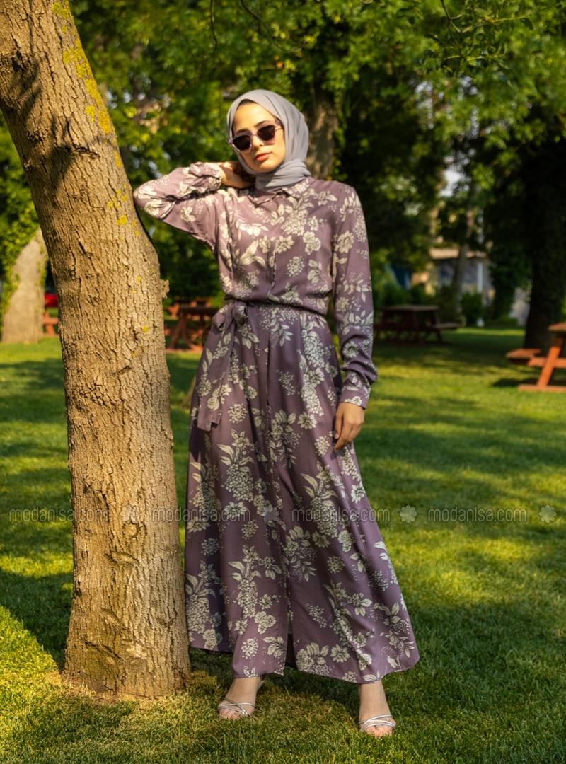 Purple - Floral - Point Collar - Unlined - Modest Dress