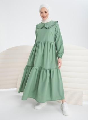 Green Almond - Round Collar - Unlined - Modest Dress