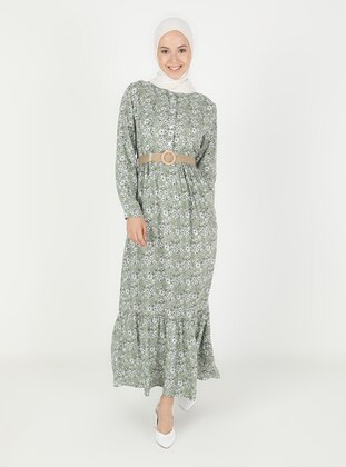 Green Almond - Floral - Crew neck - Modest Dress
