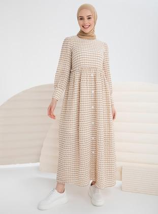 Camel - Gingham - Crew neck - Unlined - Modest Dress