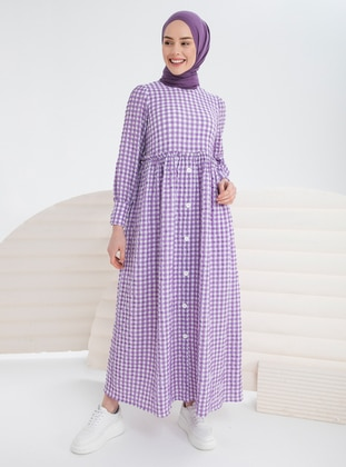 Lilac - Gingham - Crew neck - Unlined - Modest Dress