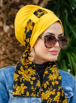 Yellow - Black - Printed - Instant Scarf