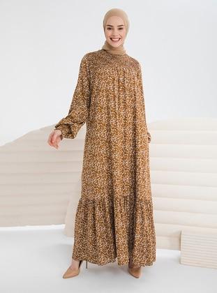 Brown - Multi - Crew neck - Unlined - Modest Dress