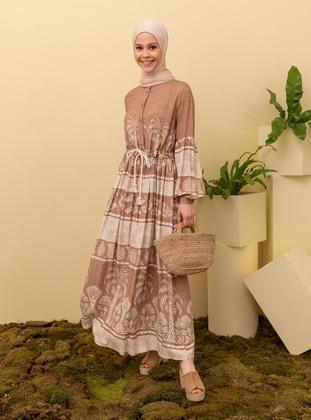 Camel - Multi - Crew neck - Unlined - Modest Dress
