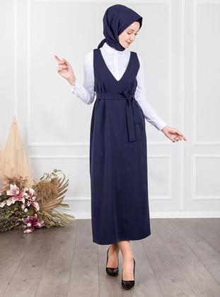 Navy Blue - V neck Collar - Unlined - Modest Dress