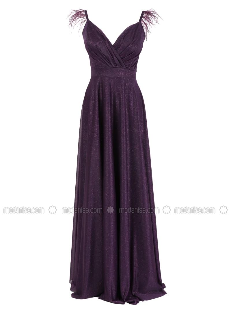 Fully Lined - Purple - V neck Collar - Evening Dresses