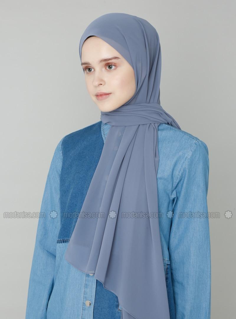 Anthracite - Blue - Plain - Shawl