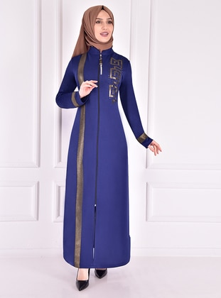 Indigo - Unlined - Crew neck - Modest Evening Dress