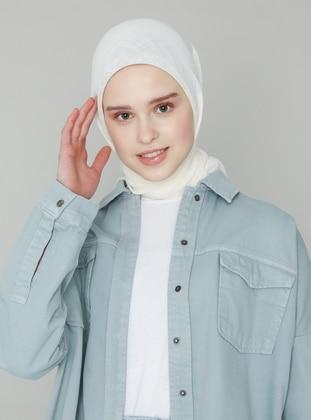 White - Ecru - Plain - Scarf