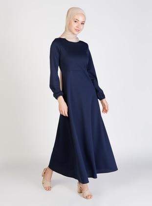 Navy Blue - Crew neck - Unlined - Modest Dress