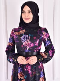 Black - Floral - Fully Lined - Crew neck - Modest Evening Dress