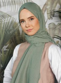 Green Almond - Striped - Cotton - Shawl