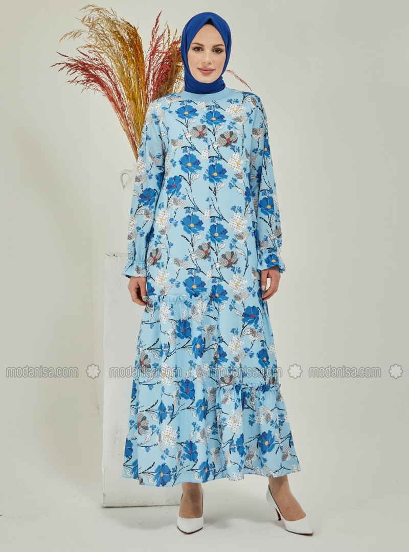 Blue - Floral - Crew neck - Fully Lined - Modest Dress