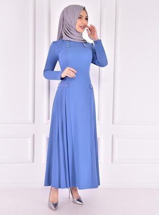 Blue - Unlined - Crew neck - Modest Evening Dress