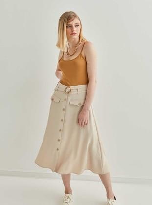 Beige - Plus Size Skirt