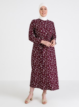 Purple - Floral - Unlined - Crew neck - Plus Size Dress
