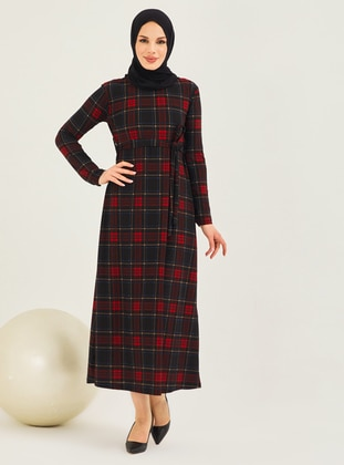 Maroon - Maroon - Checkered - Crew neck - Unlined - Modest Dress