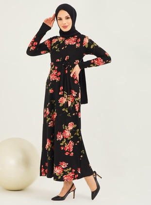 Red - Black - Checkered - Crew neck - Unlined - Modest Dress