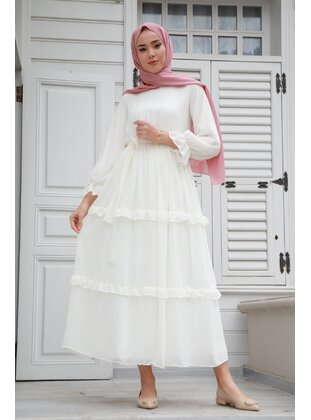 White - Modest Dress - GİZCE