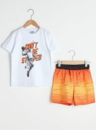 Orange - Boys` Swimsuit