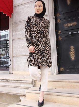 Camel - Zebra - Crew neck - Tunic