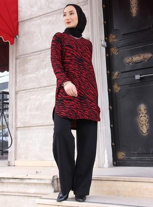 Red - Zebra - Crew neck - Tunic