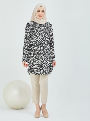 White - Black - Zebra - Crew neck - Tunic