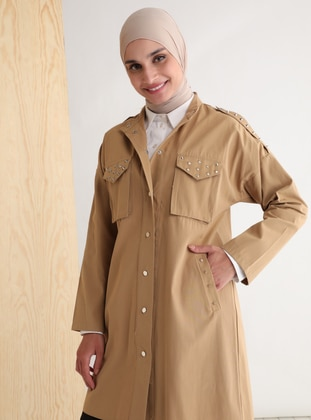 Beige - Unlined - Polo neck - Trench Coat