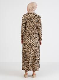 Camel - Floral - Unlined - Crew neck - Plus Size Dress
